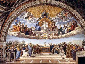 Raffaello, Disputa del Sacramento, 1509, Stanza della Segnatura, Roma, Musei Vaticani – Public Domain via Wikipedia Commons.