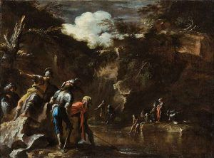 Salvator-Rosa---Scene-from-Greek-history--Thales-causing-the-river-to-flow-on-both-sides-of-the-Lydian-army,1663-64---Public-Domain-via-Wikipedia-Commons