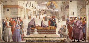 Domenico Ghirlandaio, Affreschi della Cappella Sassetti, Resurrezione del ragazzo, 1479-85, Dettagli, Santa TrinitÖ, Firenze