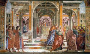 Domenico Ghirlandaio, Cacciata di Gioacchino dal tempio, Dettagli, Cappella Tornabuoni, 1486-1490, Santa Maria Novella, Firenze