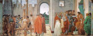 Filippino Lippi, Disputa di Simon Mago e crocifissione di san Pietro, Dettagli, 1482-85, Basilica di Santa Maria del Carmine, Firenze