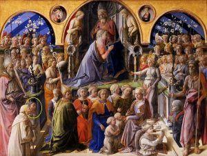 Filippo Lippi, Incoronazione della Vergine (nota anche come Incoronazione Maringhi), 1439 e il 1447 circa, Galleria degli Uffizi di Firenze.