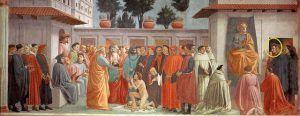 Masaccio e Filippino Lippi, Resurrezione del figlio di Teofilo e san Pietro in cattedra, 1427-1485, Basilica di Santa Maria del Carmine, Firenze.