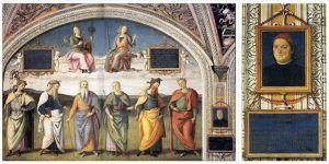 Perugino, Prudenza e Giustizia sopra sei Savi antichi e Autoritratto, 1496-1500, Collegio del Cambio, Perugia - Public Domain via Wikipedia Commons