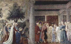 Piero della francesca, Storie della vera Croce, L'ncontro tra Salomone e la Regina di Saba, affresco, 1452-66, Basilica di San Francesco, Arezzo - Public Dom