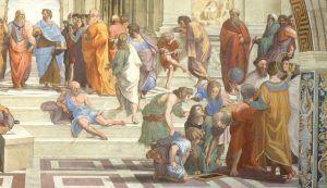 Raffaello, La Scuola di Atene, Particolare, 1509-11, Stanza della Segnatura, Roma, Musei Vaticani – Public Domain via Wikipedia Commons.