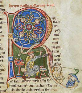 Rufillus di Weissenau, Autoritratto mentre minia il capolettera R, 1170-1190, Bibliothèque Bodmer, Genève – Public Domain via Wikipedia Commons