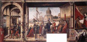 Vittore Carpaccio, Arrivo degli ambasciatori inglesi alla corte del re di Bretagna, 1495 ca., Gallerie dell'Accademia, Venezia
