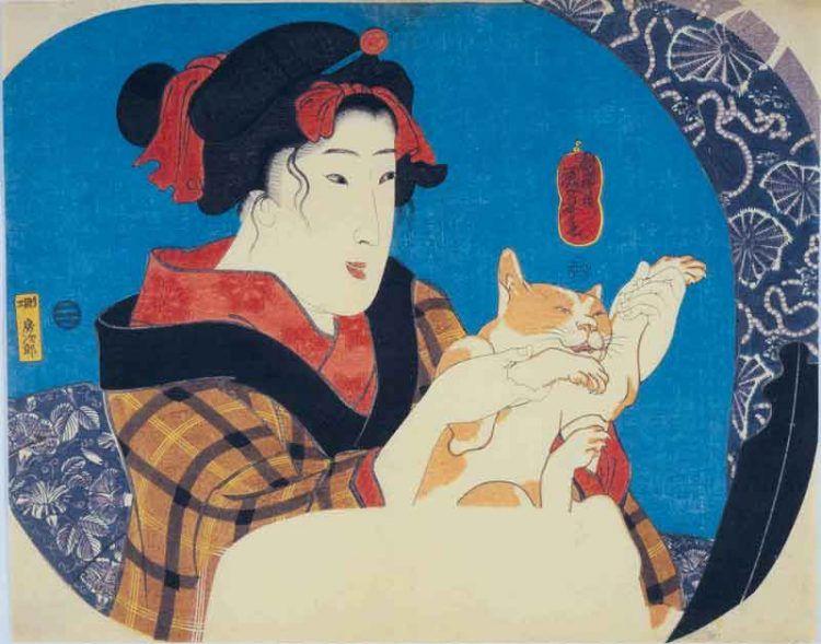 Utagawa Kuniyoshi Ragazza che gioca col gatto Serie senza titolo di donne che si riflettono allo specchio circa 1845 silografia policroma(nishikie) 22,8x28,8 cm Masao Takashima Collection