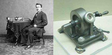 Edison e il fonografo nell'aprile del 1878; fonografo del 1877.