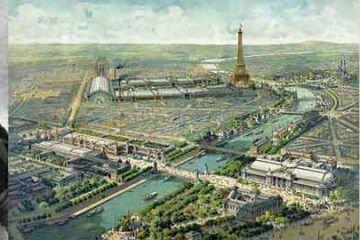 I fratelli Auguste e Louis Lumière; panoramica dell'Esposizione internazionale di Parigi del 1900; manifesto del cinema Lumière del 1895. [Public domain, via Wikimedia Commons].