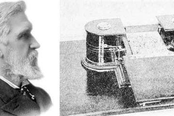 Elisha Gray e un esemplare del suo teleautografo. See page for author [Public domain, via Wikimedia Commons].