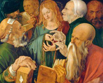 Autore: Albrecht Dürer - Titolo: Gesù fra i dottori - Anno: 1506 - Tecnica: olio su tavola - Dim: cm 64,3 x 80,3, inv. N. 1934.38 - Prestatore: Madrid, Museo Thyssen-Bornemisza - Crediti: © 2018. Museo Thyssen-Bornemisza / Scala, Firenze