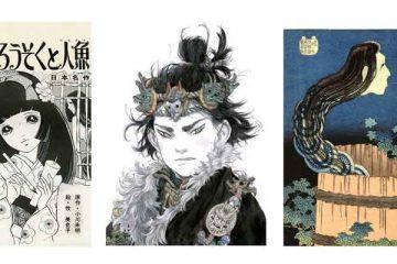 Mangasia: Wonderlands of Asian Comics - AkairousokuTo Ninggyo © Miyako Maki - Du Gu, Zao Dao,2014, character design for Le Vent traversant les pins. Published by Editions Mosquito, 2015 - Hokusai_HouseOfBrokenPlates_from100GhostTales_1831-2_woodblockPrint_artsyNET