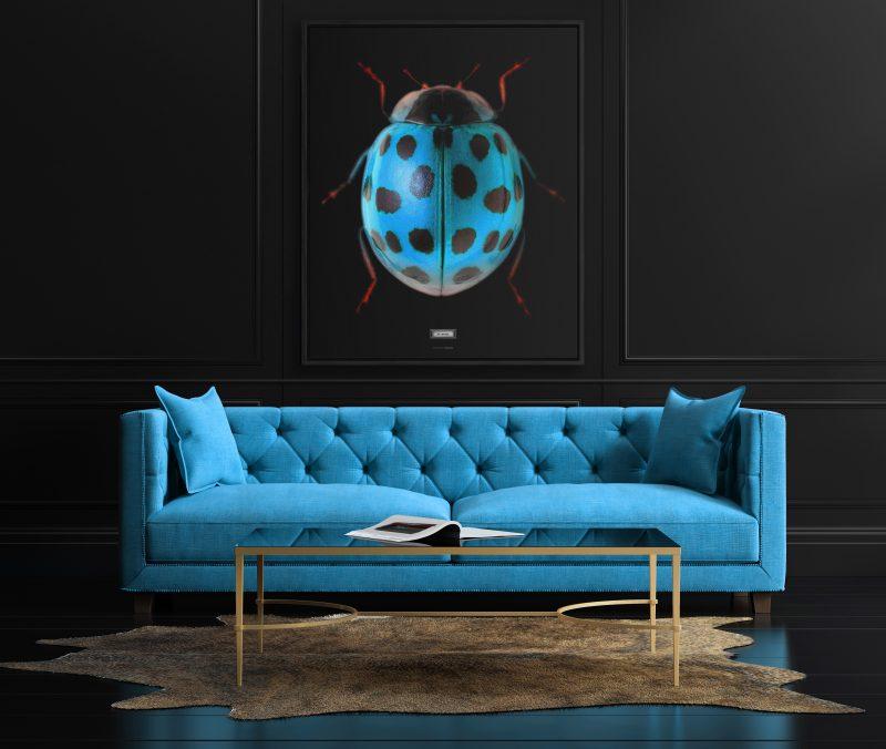 Elegant interior, living room with beige velvet sofa