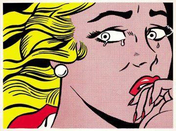 Roy Lichtenstein, Crying Girl, 1963, Litografia offset su carte leggera biancastra liscia, 45.8 x 61 cm. Collezione privata, Courtesy Sonnabend Gallery, New York - ©Estate of Roy Lichtenstein