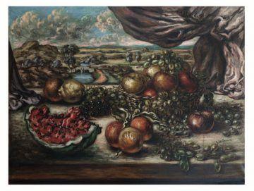 Giorgio de Chirico, Frutta con sfondo di paese, 1956 - Musei Civici, Pavia