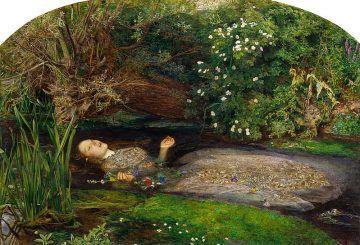 Ofelia (olio su tela; 76,2 x 111,8 cm), di John Everett Millais, 1851-1852, Tate Britain, Londra. [Public-domain-via-Wikimedia-Commons].