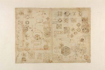 Leonardo da Vinci (1452-1519), Codice Atlantico (Codex Atlanticus), foglio 482 recto. Ricetta di una bevanda turca; lettera al re di Francia; disegni geometrici relativi alla trasformazione delle superfici