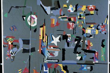 """Ugo Nespolo, """"Window Poem"""", 1984, Acrilici su legno, 170 x 220 cm"""