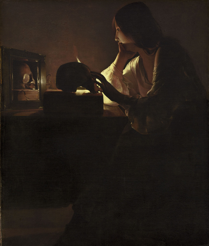 Georges de La Tour Maddalena penitente, 1635 - 1640 Olio su tela, 113 x 92,7 cm National Gallery of Art, Washington D.C., Stati Uniti