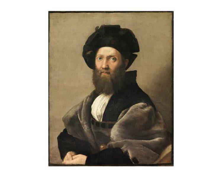 """""""Ritratto di Baldassarre Castiglione"""", Raffaello; olio su tela, 82x67 cm; Louvre, Parigi [Public domain], via Wikimedia Commons]"""